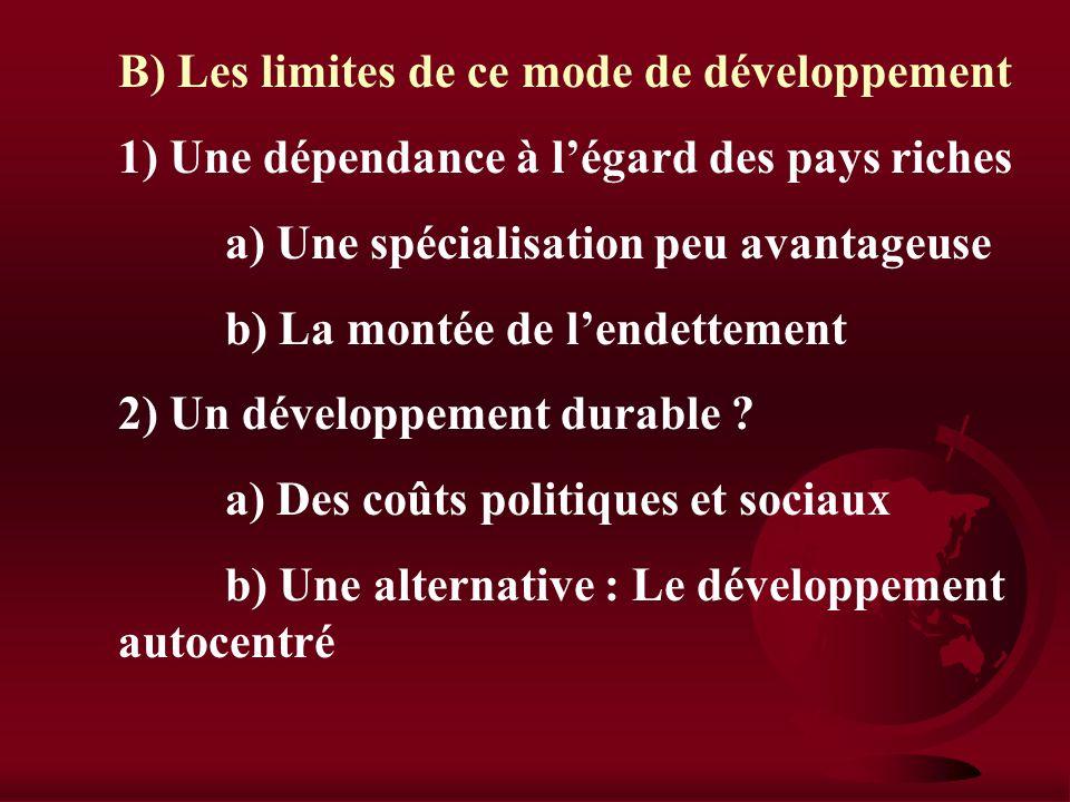 B) Les limites de ce mode de développement