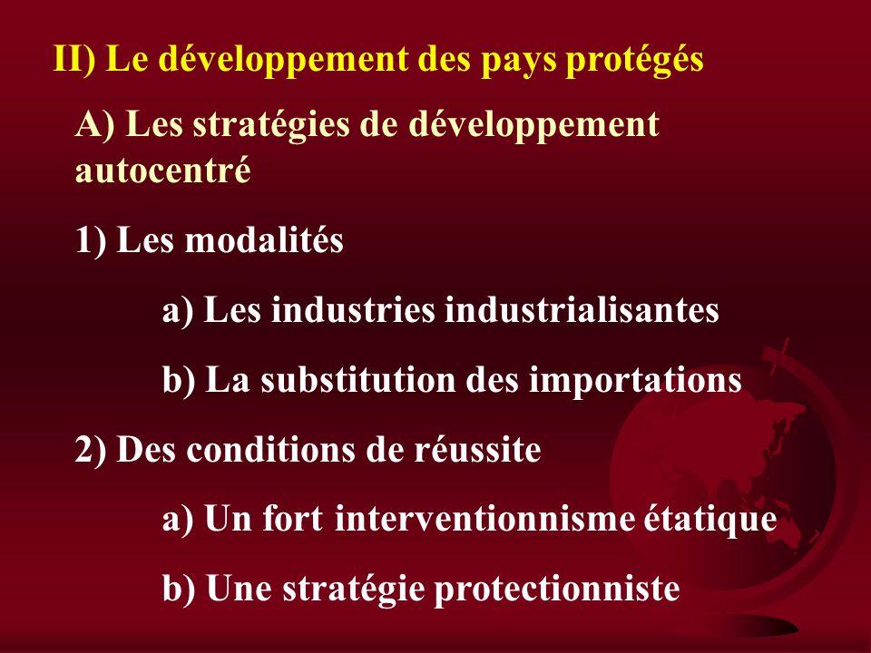 II) Le développement des pays protégés
