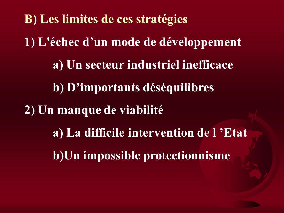 B) Les limites de ces stratégies