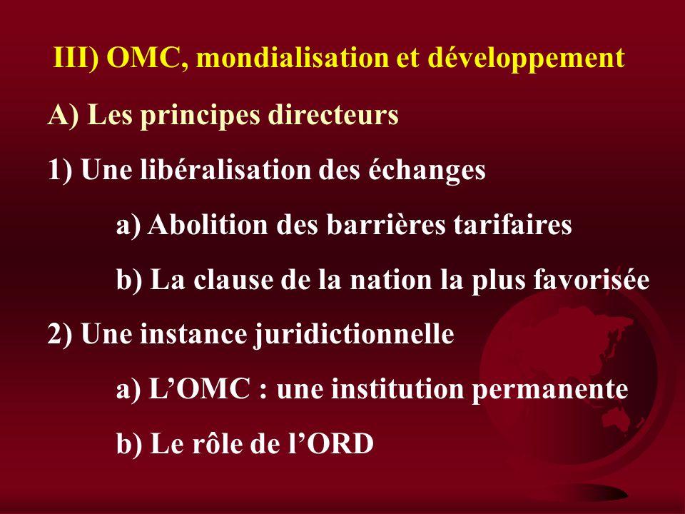 III) OMC, mondialisation et développement