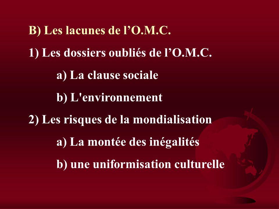 B) Les lacunes de l'O.M.C.1) Les dossiers oubliés de l'O.M.C. a) La clause sociale. b) L environnement.