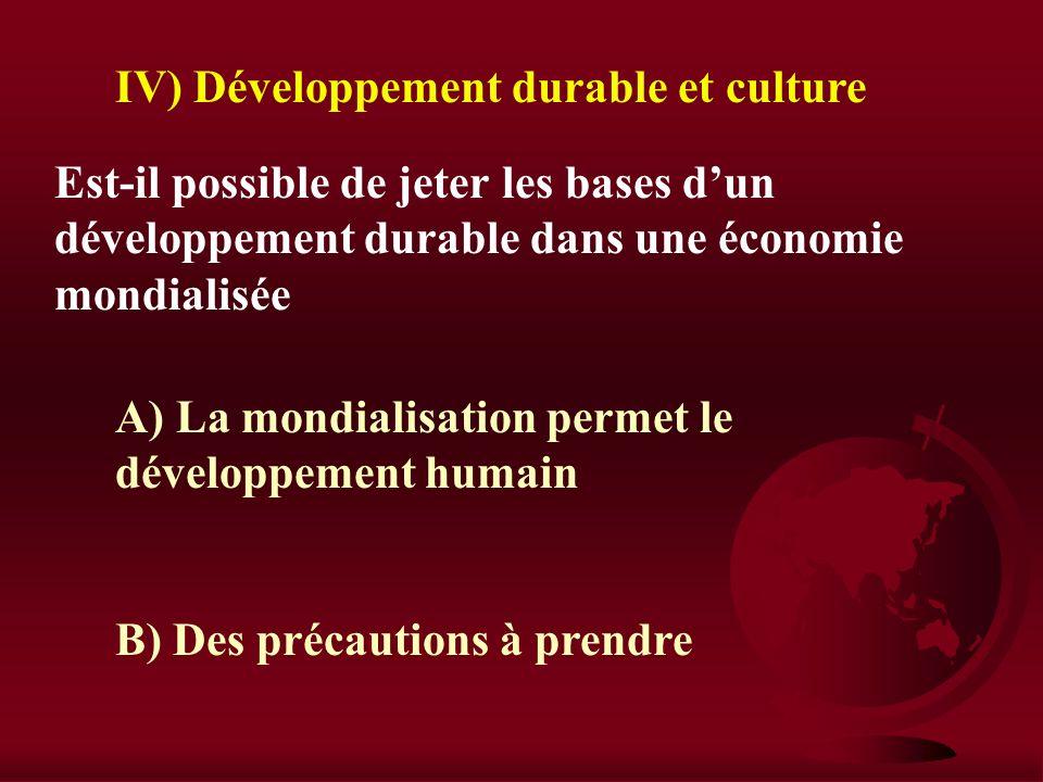 IV) Développement durable et culture