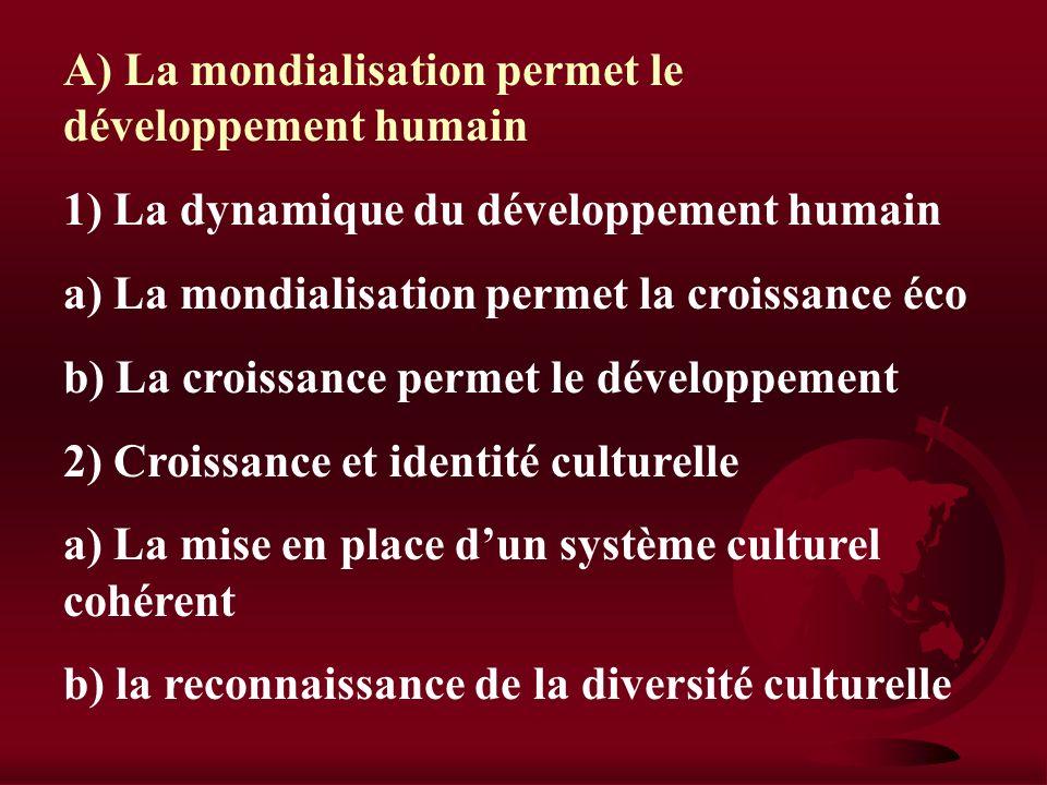 A) La mondialisation permet le développement humain