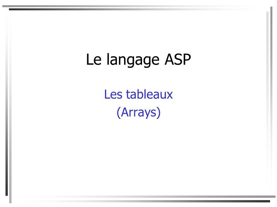 Le langage ASP Les tableaux (Arrays)
