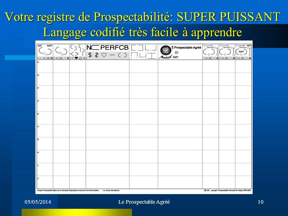 Votre registre de Prospectabilité: SUPER PUISSANT Langage codifié très facile à apprendre