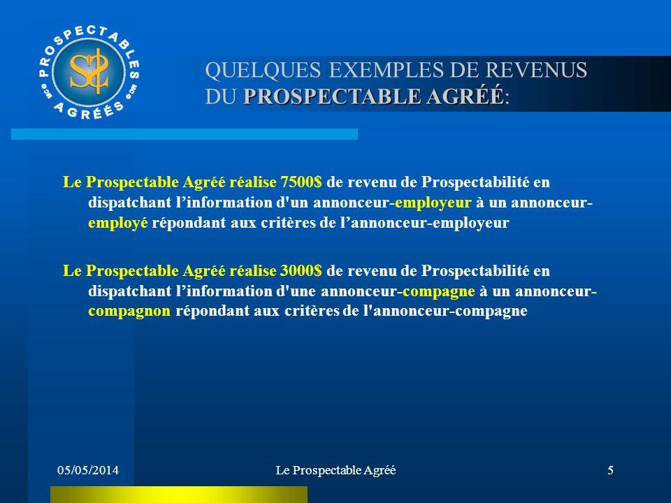 QUELQUES EXEMPLES DE REVENUS DU PROSPECTABLE AGRÉÉ: