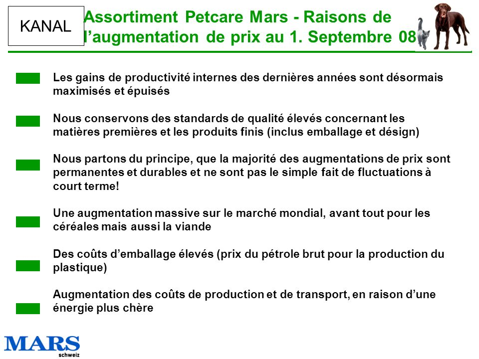 Assortiment Petcare Mars - Raisons de l'augmentation de prix au 1