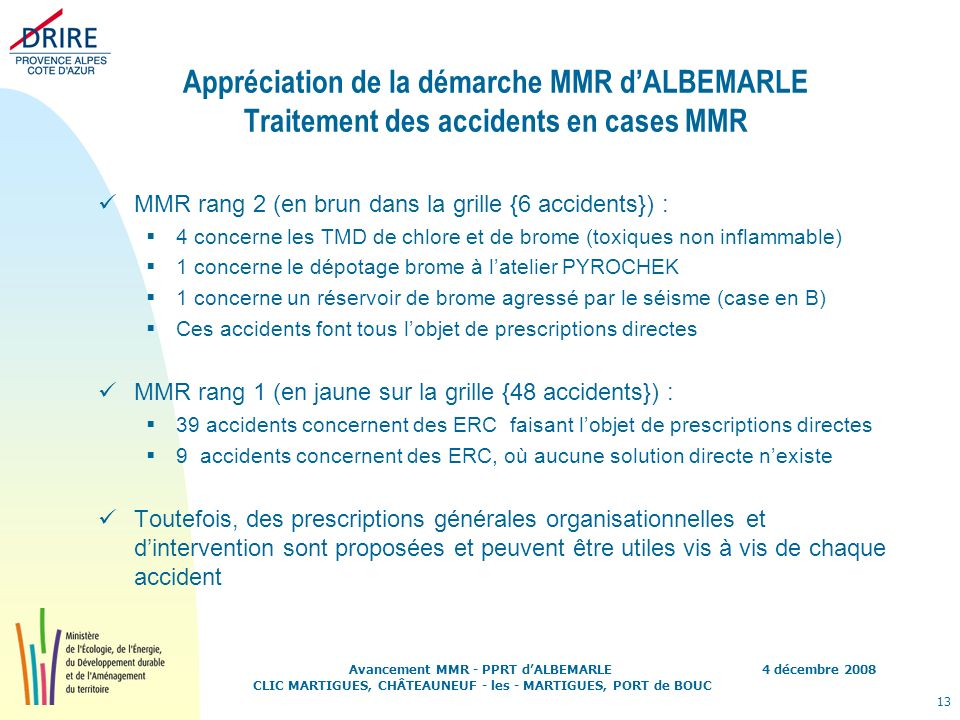 Appréciation de la démarche MMR d'ALBEMARLE Traitement des accidents en cases MMR