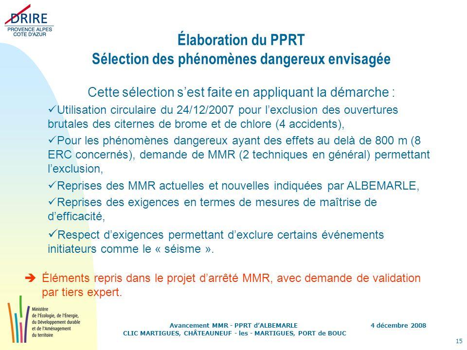 Élaboration du PPRT Sélection des phénomènes dangereux envisagée