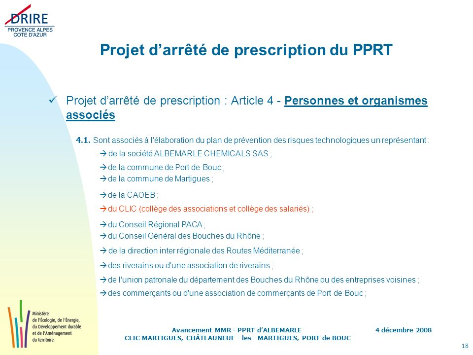 Projet d'arrêté de prescription du PPRT