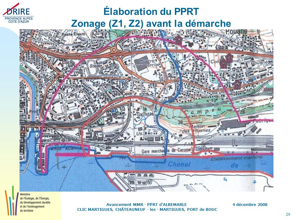 Élaboration du PPRT Zonage (Z1, Z2) avant la démarche