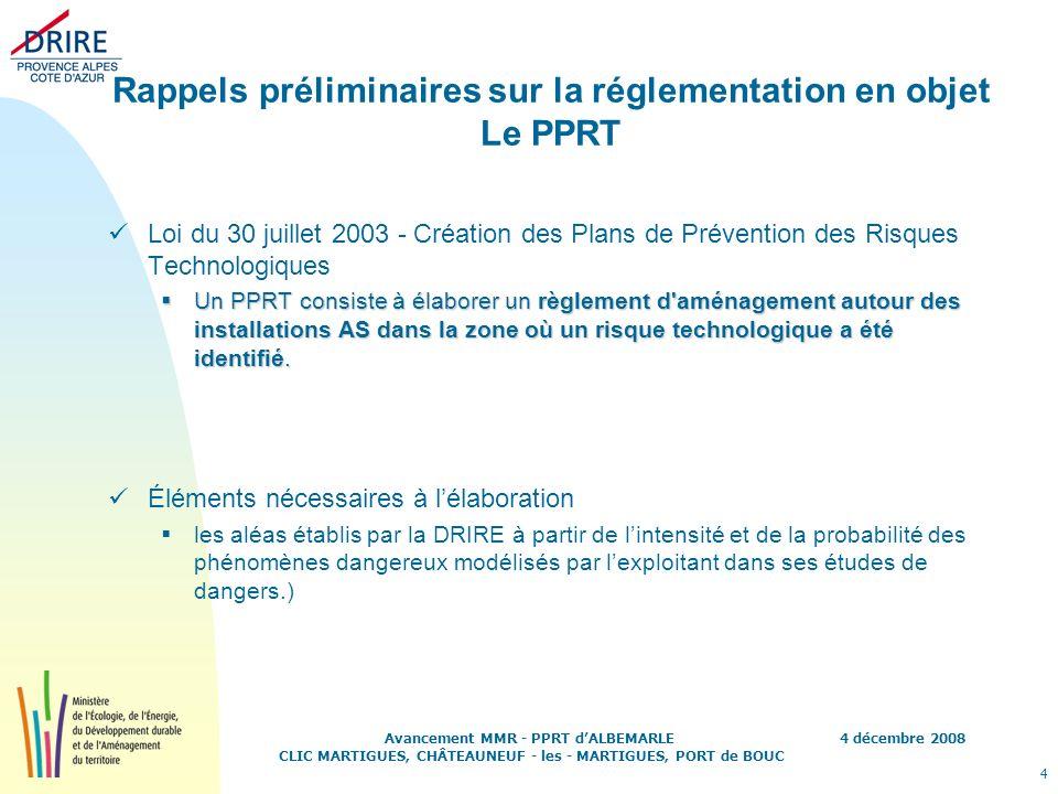 Rappels préliminaires sur la réglementation en objet Le PPRT