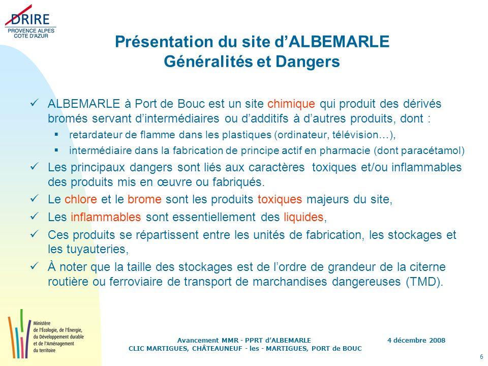 Présentation du site d'ALBEMARLE Généralités et Dangers
