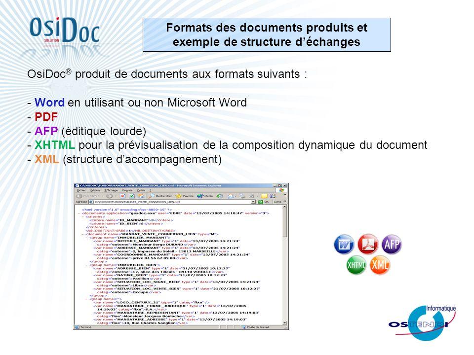 Formats des documents produits et exemple de structure d'échanges