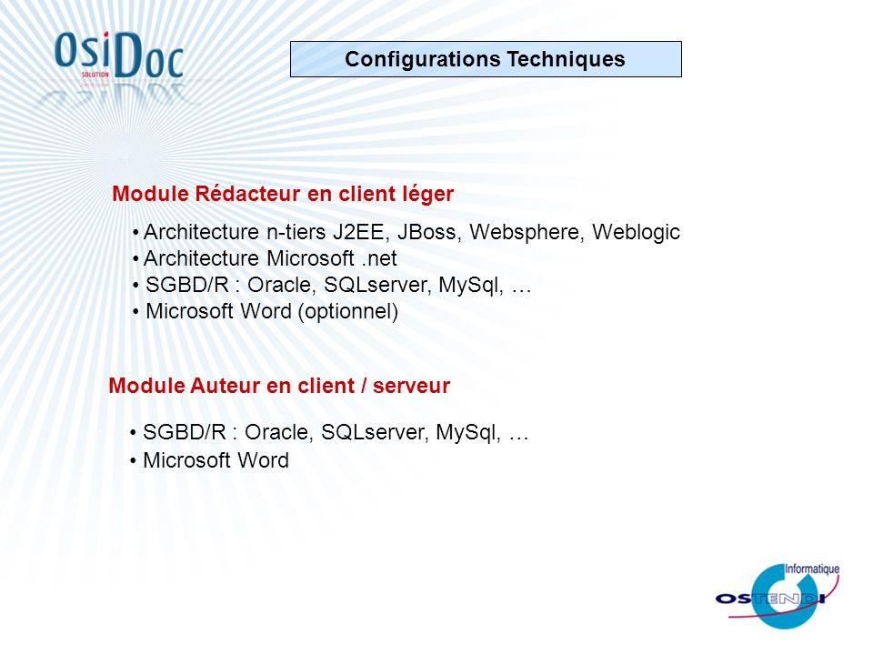 Configurations Techniques