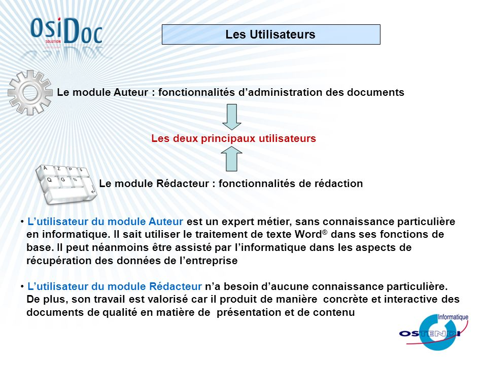 Les Utilisateurs Le module Auteur : fonctionnalités d'administration des documents. Les deux principaux utilisateurs.