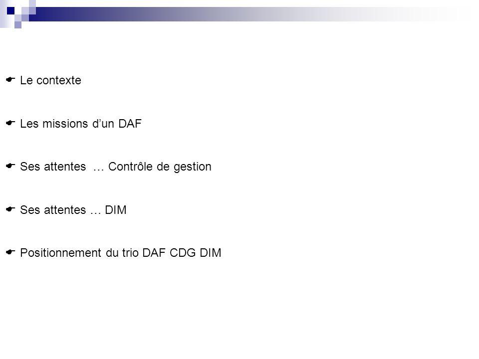 Le contexte Les missions d'un DAF. Ses attentes … Contrôle de gestion.