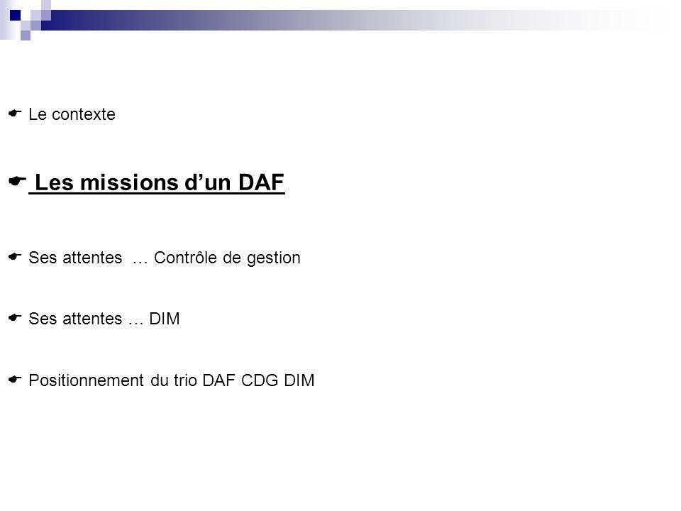 Les missions d'un DAF Le contexte Ses attentes … Contrôle de gestion