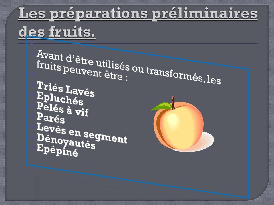 Les préparations préliminaires des fruits.