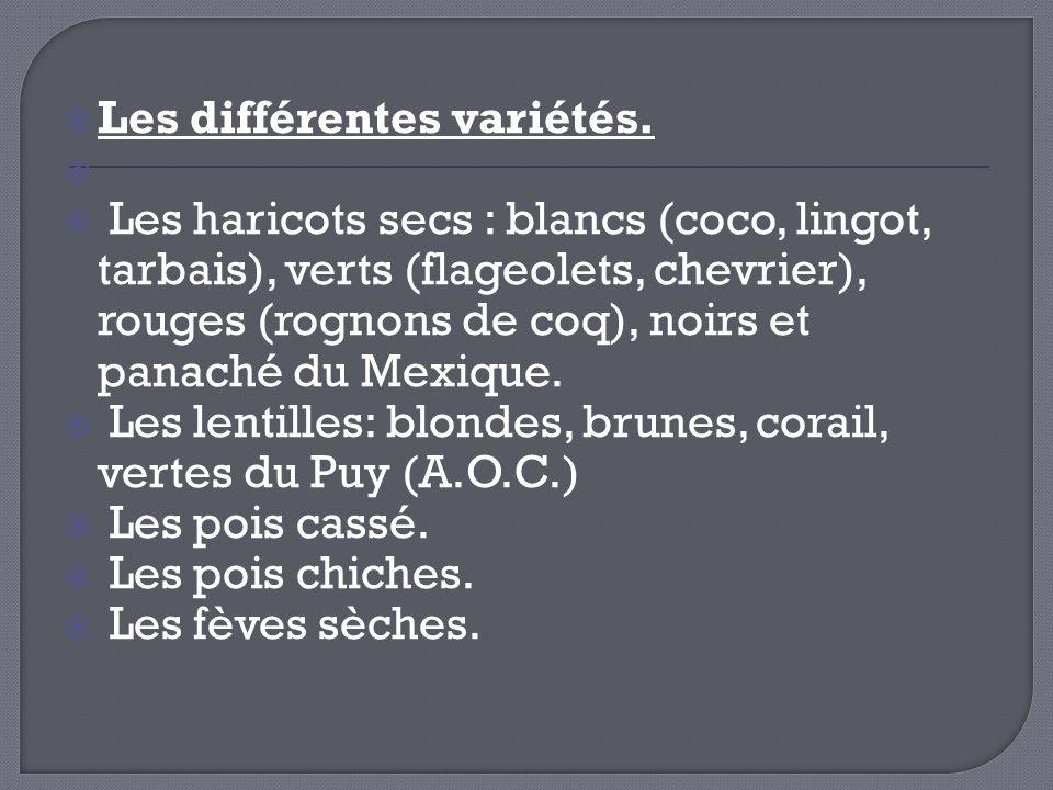 Les différentes variétés.