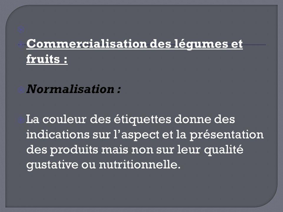 Commercialisation des légumes et fruits : Normalisation :
