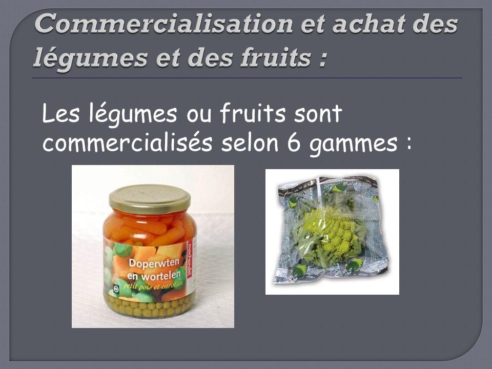 Commercialisation et achat des légumes et des fruits :