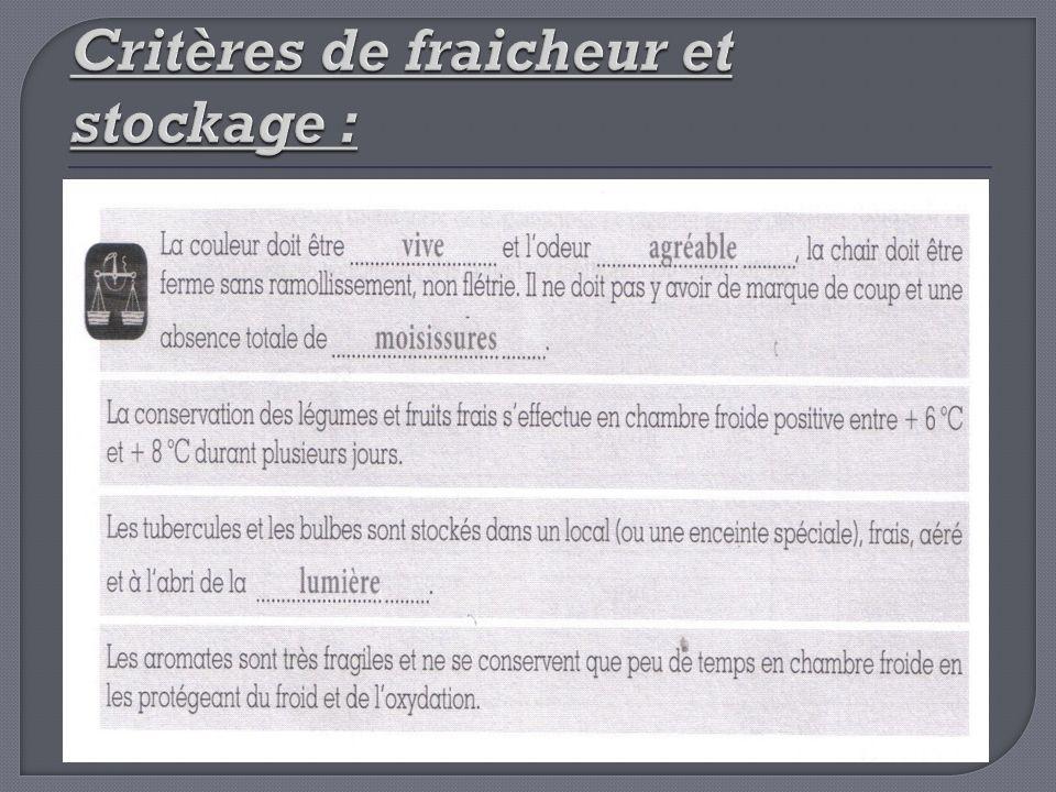 Critères de fraicheur et stockage :
