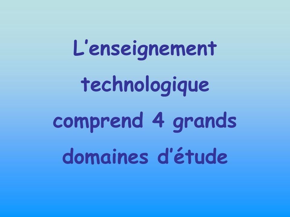 L'enseignement technologique comprend 4 grands domaines d'étude