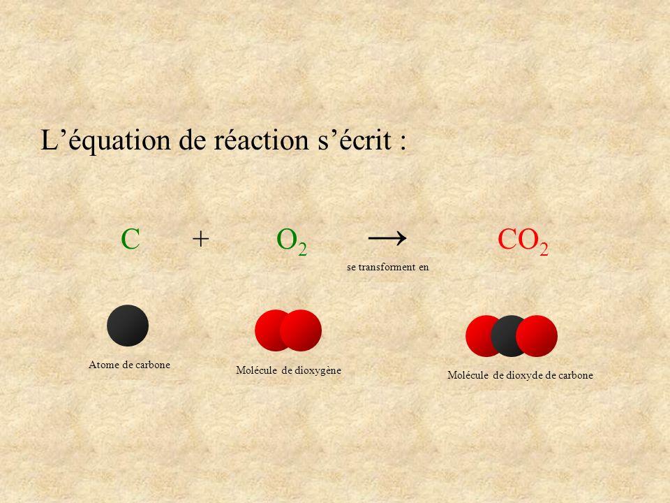 L'équation de réaction s'écrit : C + O2 → CO2
