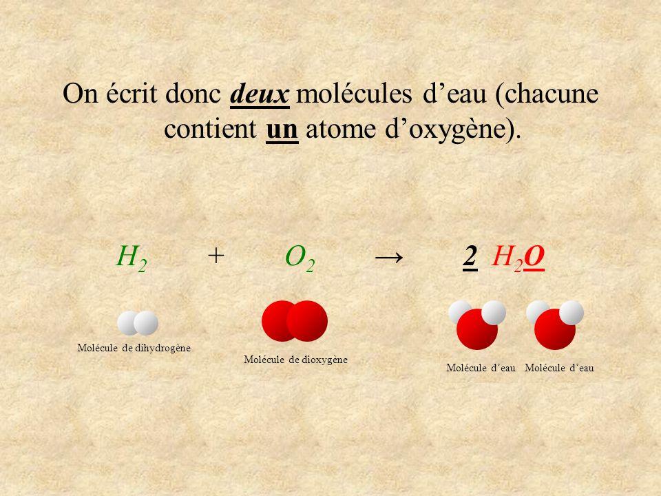 On écrit donc deux molécules d'eau (chacune contient un atome d'oxygène).