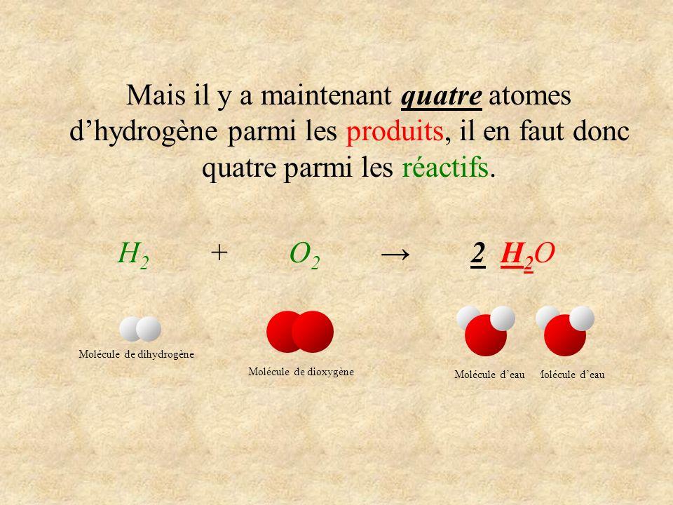 Mais il y a maintenant quatre atomes d'hydrogène parmi les produits, il en faut donc quatre parmi les réactifs.