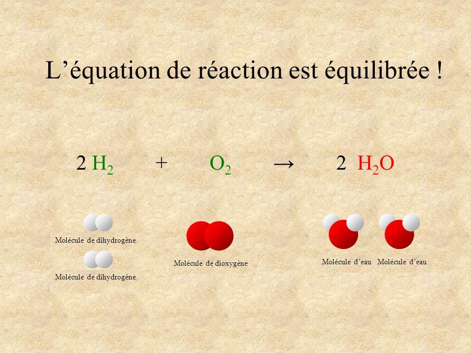 L'équation de réaction est équilibrée !