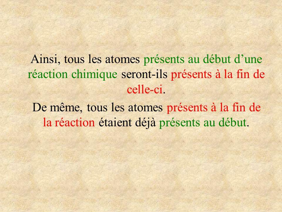 Ainsi, tous les atomes présents au début d'une réaction chimique seront-ils présents à la fin de celle-ci.