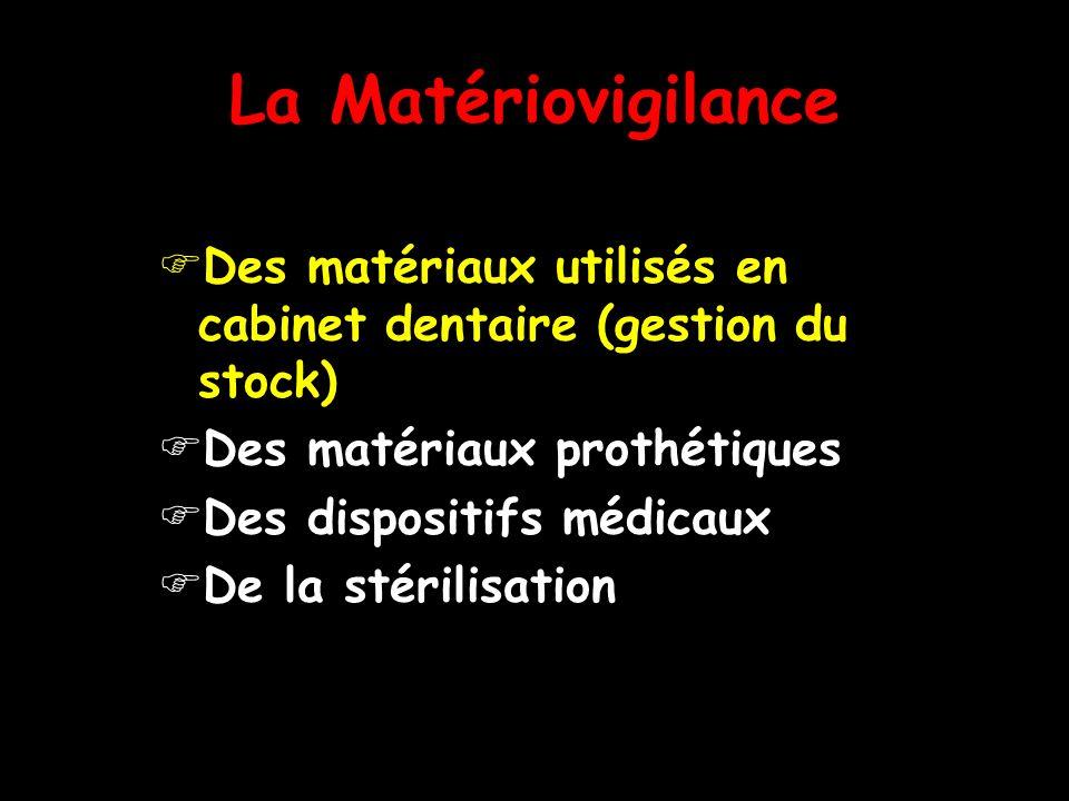 La Matériovigilance Des matériaux utilisés en cabinet dentaire (gestion du stock) Des matériaux prothétiques.