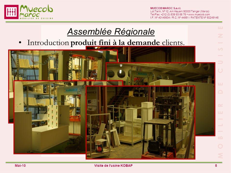 Assemblée Régionale Introduction produit fini à la demande clients.