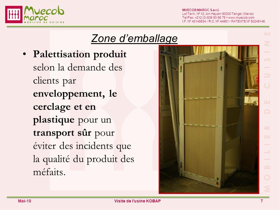 MUECOB MAROC S.a.r.l. Lot Tarik, Nº 12, Ain Hayani 90000 Tanger (Maroc) Tel/Fax: +212 (0) 539 93 65 76 • www.muecob.com.
