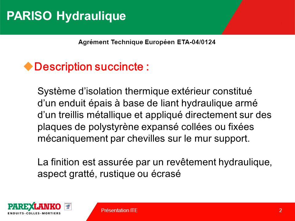 PARISO Hydraulique Description succincte :