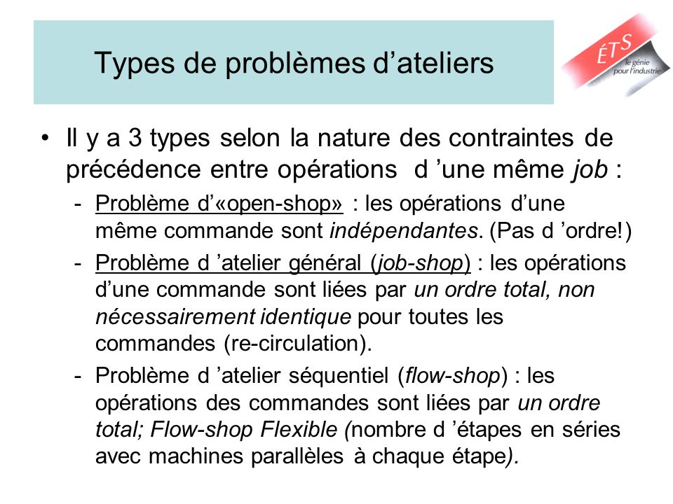 Types de problèmes d'ateliers