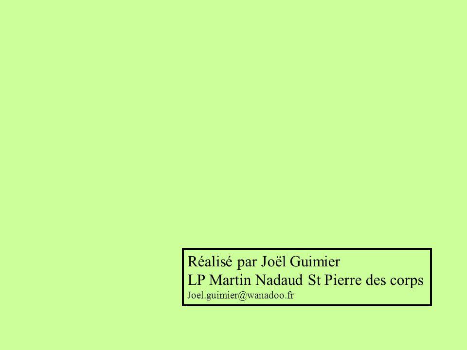 Réalisé par Joël Guimier LP Martin Nadaud St Pierre des corps