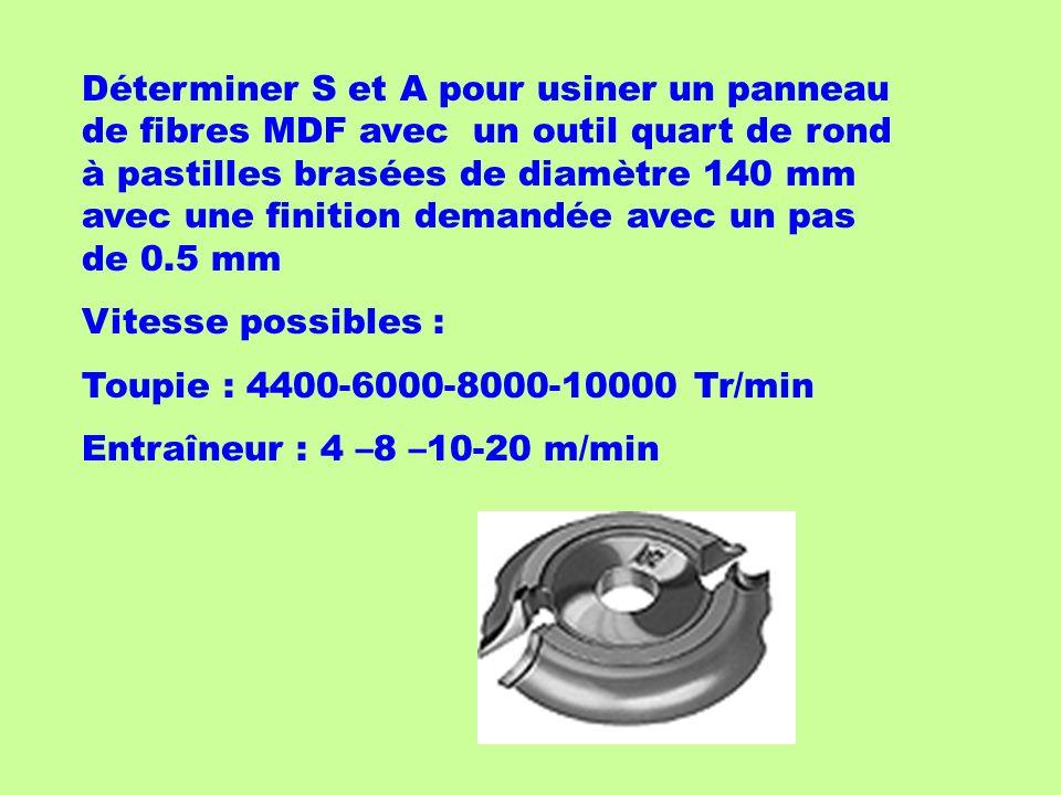 Déterminer S et A pour usiner un panneau de fibres MDF avec un outil quart de rond à pastilles brasées de diamètre 140 mm avec une finition demandée avec un pas de 0.5 mm