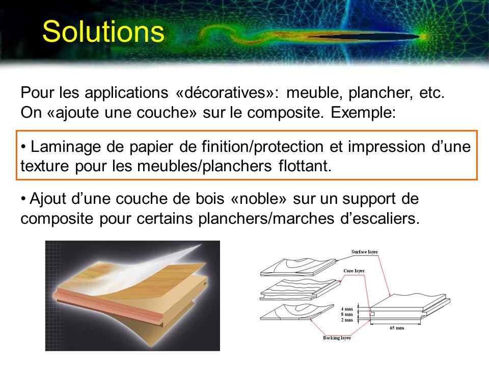 Solutions Pour les applications «décoratives»: meuble, plancher, etc. On «ajoute une couche» sur le composite. Exemple: