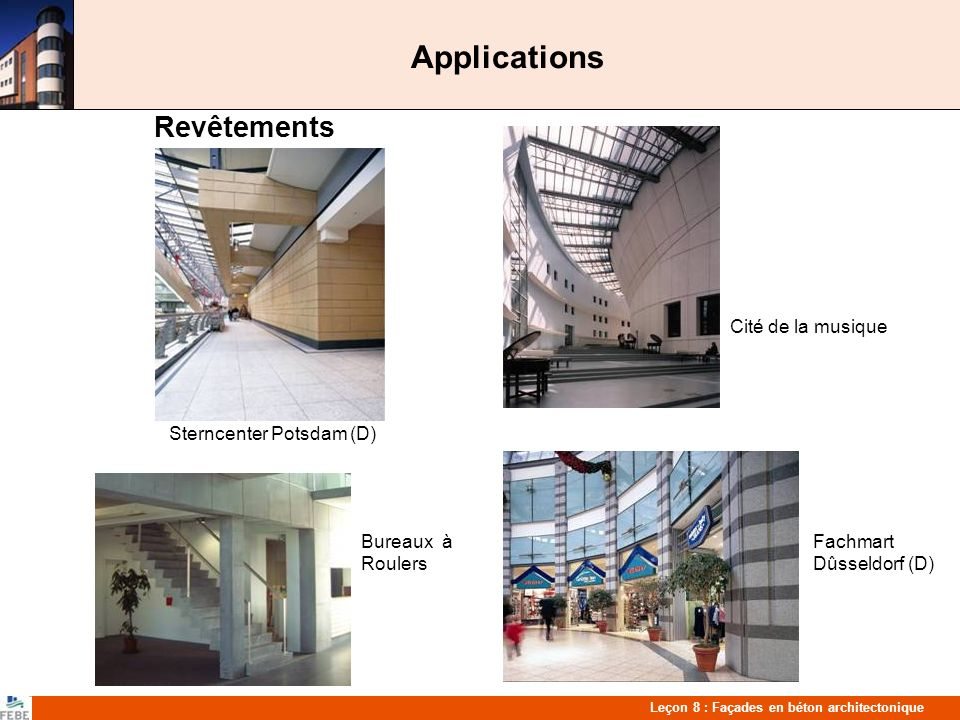 Applications Revêtements Cité de la musique Paris