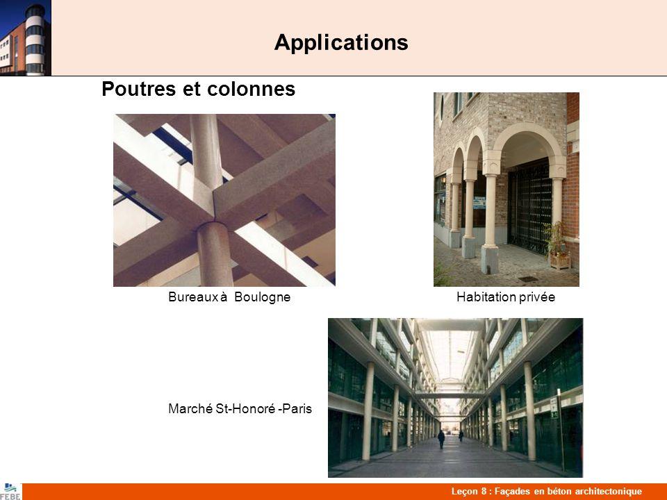 Applications Poutres et colonnes Bureaux à Boulogne Habitation privée