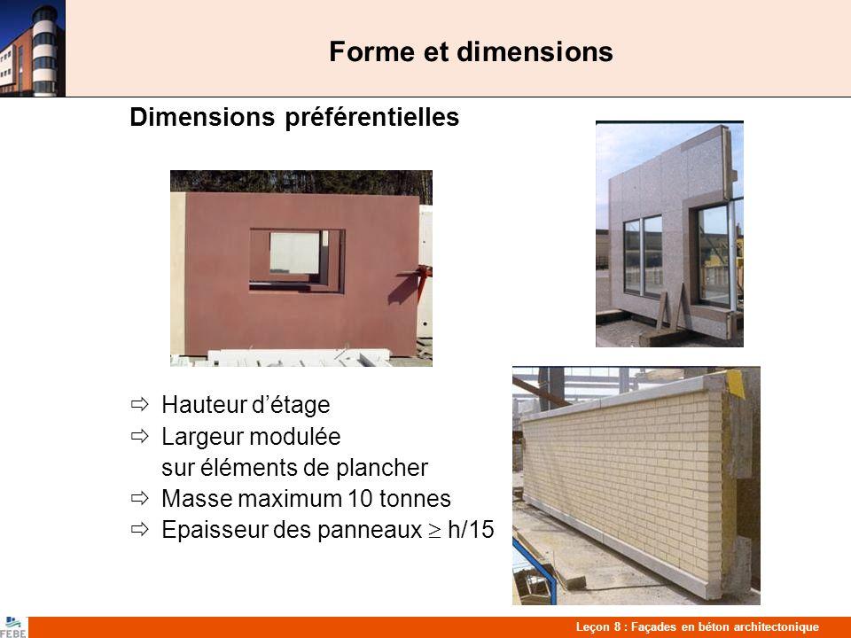 Forme et dimensions Dimensions préférentielles  Hauteur d'étage