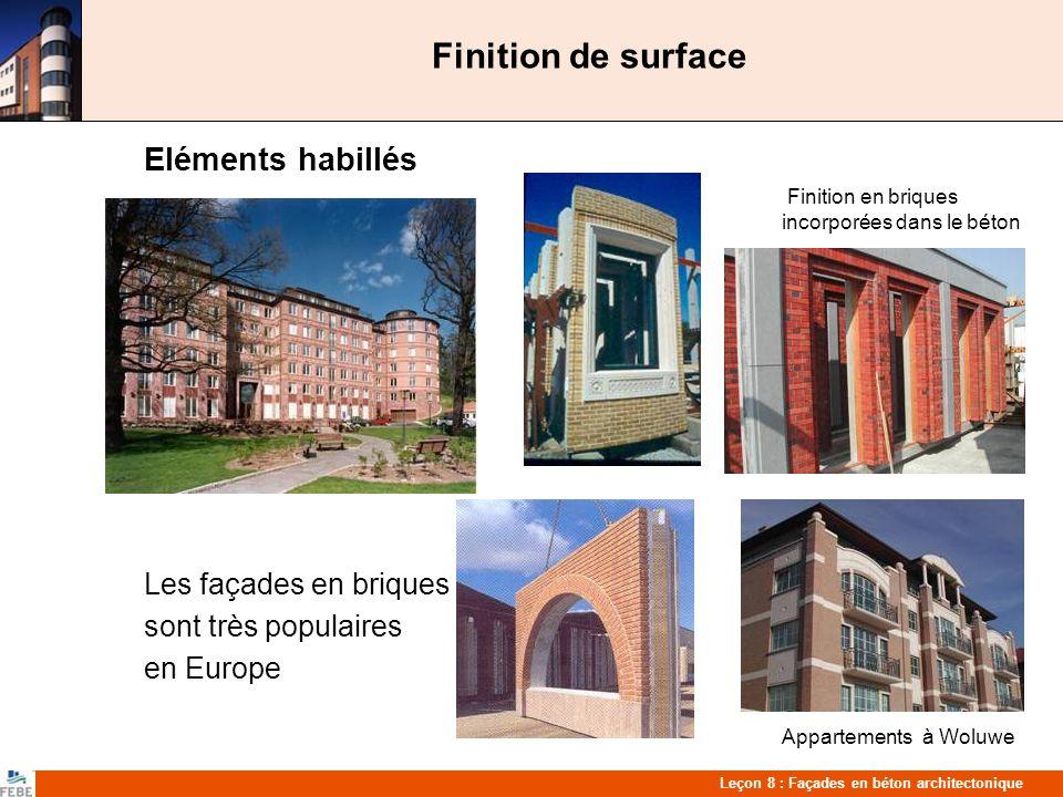 Finition de surface Eléments habillés Les façades en briques
