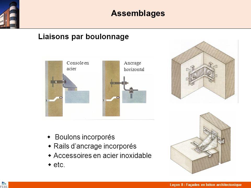 Assemblages Liaisons par boulonnage  Rails d'ancrage incorporés