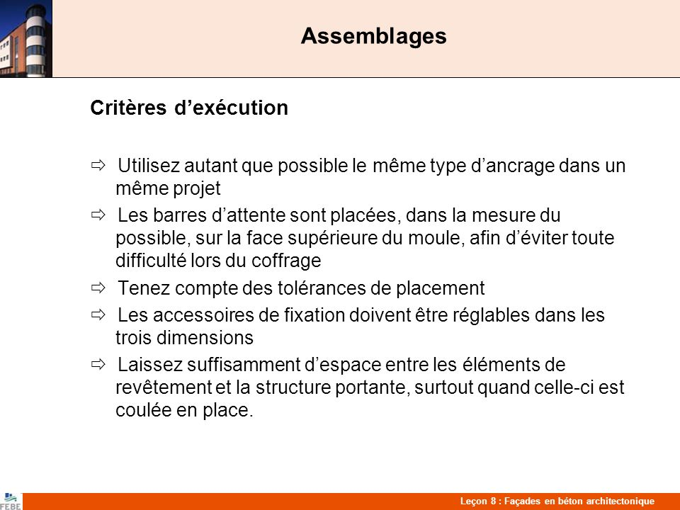 Assemblages Critères d'exécution