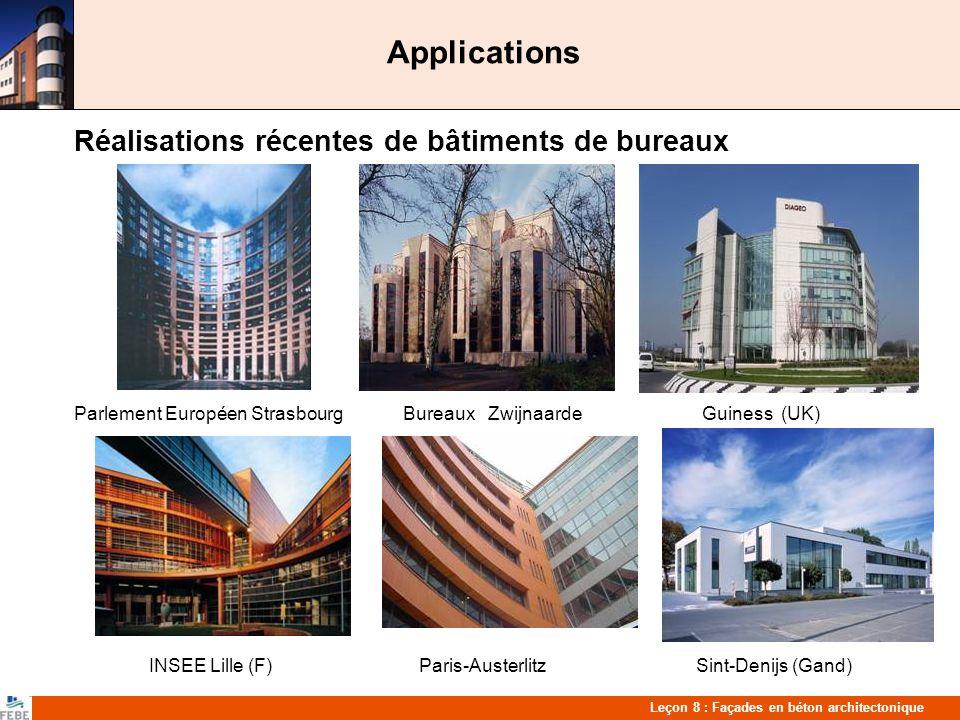 Applications Réalisations récentes de bâtiments de bureaux