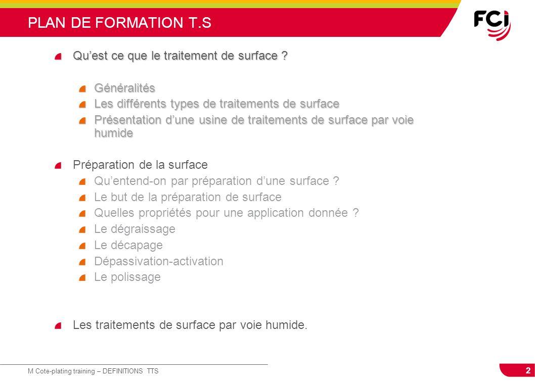 PLAN DE FORMATION T.S Qu'est ce que le traitement de surface