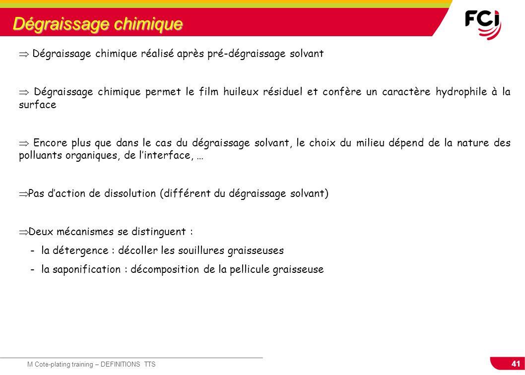 Dégraissage chimique  Dégraissage chimique réalisé après pré-dégraissage solvant.